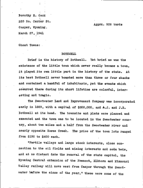 Wyoming WPA Subject File, Natrona County towns