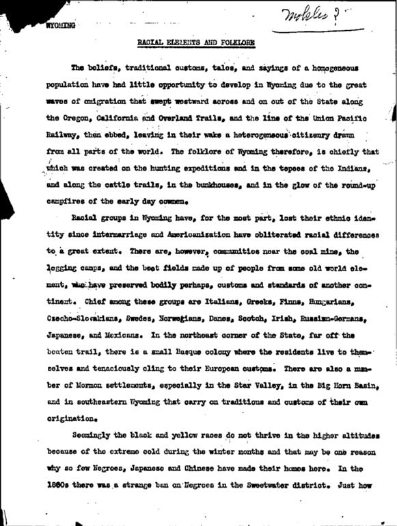 WPA Subject 1490 Natrona County folklore