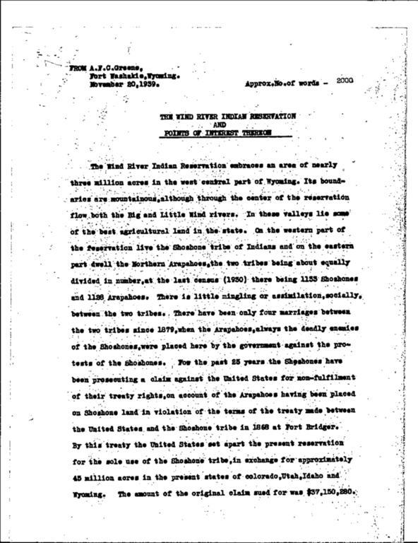 WPA Subject 1494 Natrona County Indian raids